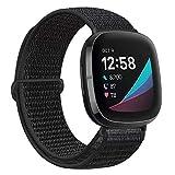 Runostrich AVOD Nylon Sportschlaufenbänder Kompatibel mit Fitbit Versa 3/Fitbit Sense, weich atmungsaktiver Ersatzriemen Frauen Mann Armband (Dunkles Schwarz)