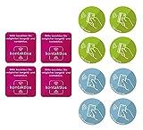 BIKE-label Schild Aufkleber 8x8 cm - Dm 7 cm 3 Motive je 4 Stück bargeldlos zahlen 900175VE