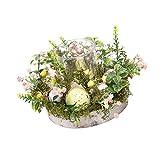 Osterkerzenhalter mit Kranzbasis, pastorales Teelicht, kreativer Ostereiglas-Kerzenhalter, für Frühling Sommer für H