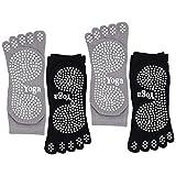 CaiDieNu Pilates Socken mit Zehen rutschfeste Yoga Socken mit Gummisohlen,Noppen Socken Ideal fürTanz Fitness,Damen Baunmwolle Zehensocken,4 Paare (3.Weißes Punkt-Schwarz+Grau-4 paar)