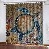 MXYHDZ Blickdicht Vorhang für Schlafzimmer - Meerestier Schildkröte - 3D Druckmuster Öse Thermisch isoliert - 160 x 160 cm - 90% Blickdicht Vorhang für Kinder Jungen Mädchen Spielzimmer