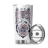 LL·Shawn 20 oz Auto Tasse Wikinger Tumbler Vakuum - Kaffeebecher mit Edelstahl für Eisgetränke Reisebecher Becher weiß 600ml