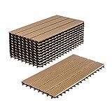WPC Holz Kunststoff Fliesen Terrassenfliesen Klickfliesen Balkonfliesen 11 Stück (30 x 60 cm, Natur Standard)