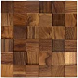 wodewa Holz Wandverkleidung selbstklebend 3D Optik Nussbaum 30x30cm Wandpaneele Moderne Wanddekoration Holzverkleidung Wohnzimmer Schlafzimmer