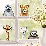 Wandtattoo Loft Fensterbild Frühling Ostern wiederverwendbar Fensteraufkleber Kinderzimmer / 2. Tierköpfe (13095) / 3. A2 Bog