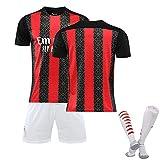 DFGH Mens Boys Football Jersey Milan Football T-Shirt, 20/22# 22 Kaka Fans Fussball Sportbekleidung, Home Football Spiel Trainingsanzug Geschenke customizable-16