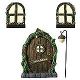 Dacitiery Feentür Garten Baum und Zwei Fenster, Feengarten Zubehör Outdoor, Mini Garten Feenhaus Baumstamm Deko, Gartendeko Figuren für Außen(Mehrfarbig)