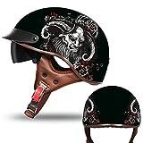 Motorradhelm Halbhelm Herren Damen, ECE Zertifizierung Rollerhelm Halbschalenhelm Motorrad Helm Jethelm Pilot Chopper Scooter Helm mit Visier (Color : K, Size : (L/59-60CM))