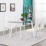 YIERMA Moderner Esstisch aus gehärtetem Glas mit 4 Stühlen, Esszimmergarnitur, Weiß