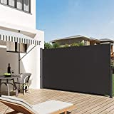SUNDUXY Aluminium Seitenmarkise Ausziehbar, Sonnenschutz Sichtschutz Windschutz UV-Schutz Imprägniert und wasserabweisend Sichtschutz Markise für Balkon Terrasse ausziehbare mark