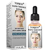 Anti-Aging-Serum, Serum mit sechs Peptiden, Serum mit Hyaluronsäure, Serum für das Gesicht, mit DMAE, 3% Hyaluronsäure, Vitaminen E & A, bekämpft Falten, Fältchen & Zeichen der Hautalterung, 30 ml