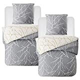 Bedsure Baumwolle Bettwäsche 135x200 cm 4 teilig Grau/Beige Bettbezug Set mit schickem Zweige Muster, weiche Bettbezüge mit Reißverschluss und 2 mal 80x80cm Kissenbezug