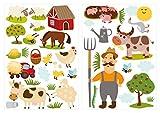 dekodino® Wandtattoo Bauernhof farbenfroh im Set Kinderzimmer Dek