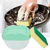 2 In 1 Seifenspender und Schwamm Set, HUHUI Putzschwamm Schwammgestell Seifenpumpenspender Seifenhalter Reinigung E