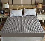 XLMHZP Wasserdichter Matratzenschoner, einfarbig, gesteppt, geprägt, wasserdicht, Spannbetttuch-Stil, Bezug für Matratze, dick, weich, für Bett, grau, 150 x 200 cm + 30 cm