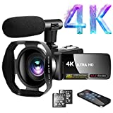 Camcorder 4K Video Camcorder 30.0MP18X Digital Zoom Ultra HD Vlogging Camcorder with Microphone 3' LCD Touch Screen Webcam Function YouTube Camcorder with Lens Hood