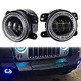WEIHO 2 PCS Neue Generation LED Jeep Wrangler modifiziertes Auto 4 Zoll RGB Nebelscheinwerfer LED Angel Eyes Bluetooth Steuerung Farbwechsel Nebelscheinwerfer Nebelscheinwerfer