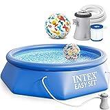 INTEX 28122 Easy Set Swimming Pool Schwimmbecken 305 x 76 cm Komplett-Set mit Filterpumpe und Extra-Zubehör wie: Strandball