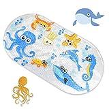 Badewannenmatte Baby Wanneneinlage, Wanneneinlage mit Saugnäpfen Anti-Rutsch, Karikatur Duschmatte Antirutsch Badematte für Baby(38 x 70 cm)