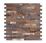 Mosaikfliese in Steinoptik, Mosaikwandfliese selbstklebende Wandverkleidung für innen (Rostiger Stein)