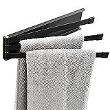 Eidoct Drehbare Handtuchstange, Handtuchleiter, Badezimmer-Wandmontage, Handtuchhalter, 3 Schwenkstangen für Küche, Badezimmer, 180° drehbarer Küchen- und Badezimmerhandtuchhalter (schwarz)