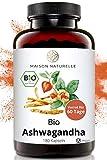 MAISON NATURELLE® Bio Ashwagandha Kapseln (180 Stück, 600mg pro Kapsel) - 100% echte Ashwagandhawurzel gemahlen aus Indien – Bio Ashwagandha hochdosiert