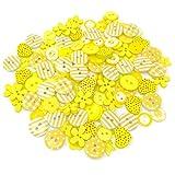 gemischte Knöpfe, gelb, Holz, Acryl und Harz, für Kartenverzierungen, 150 Stück