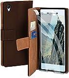 moex Handyhülle für Sony Xperia M4 Aqua - Hülle mit Kartenfach, Geldfach und Ständer, Klapphülle, PU Leder Book Case und Schutzfolie - Dunkelbraun