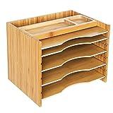 SONGMICS Bambus Ablagesystem Organizer, Papiersortierer mit 5 verstellbaren Einschüben und oberer Ablagefäche, Naturbambus OFS44Y