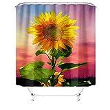 Eleusine 4-teiliges Sonnenblumen-Duschvorhang-Set mit rutschfestem Teppich, Toilettendeckel und Badematte, wasserdichtem und langlebigem Duschvorhang, geeignet für Badezimmer (Stil 5)