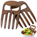 2 Stücke Bambus Salat Hände, Salat Besteck Bambus Dienst Hände Neueste Greifer Design Salat Gabel Set für Salat Servieren, Pasta, Obst auf Ihrer Küchentheke, 6 Zoll (Kaffee Farbe)