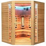 Home Deluxe – Infrarotkabine – Redsun XXL Deluxe - Vollspektrumstrahler und Karbon-Flächenstrahler – Holz: Hemlocktanne - Maße: 150 x 150 x 190 cm – inkl. komplettem Zubehö