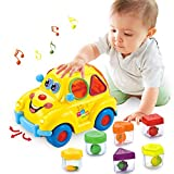 HOLA Baby Spielzeug 6-18 Monate, Früherziehung Musikbus, Verschiedene Früchte/Musik/Licht/ Rätsel,Geschenk Spielzeug für 1 2 3 jährige Jungen Mädchen