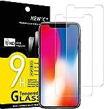 NEW'C 2 Stück, Schutzfolie Panzerglas für iPhone 11 Pro und iPhone X und iPhone XS, Frei von Kratzern, 9H Härte, HD Displayschutzfolie, 0.33mm Ultra-klar, Ultrabeständig