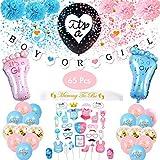 """Amycute 65-teiliges Gender-Reveal-Partyzubehör, Dekoration für Babyparty, Girlande mit der Aufschrift """"Boy or Girl"""", Luftballons, Luftballons mit Konfetti, Foto-Requisiten für Taufe, Babyparty"""