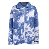 Hopereo Damen Winter Streetwear Blauer Himmel und Weiß Wolkendruck Wollmantel Teddymantel Kunstpelz Wolle Warm Cardigan Damen Mantel Frauen Gr. L, blau