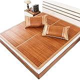 QLIGHA Bettwäsche Sommerschlafmatte Klappbare Bambus-Kühlmatte Doppelseitige Weiche Einzel-Doppelbett-Rattan-Strohmatte Klimatisierte Sommermatte für die Schule zu Hause