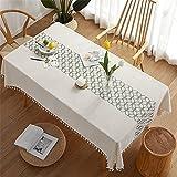CCBAO Rechteckige Polyester Quaste Tischdecke Zu Hause Wohnzimmer Küche Esszimmer Cafe Einfarbige Weiße Tischdecke Vierblättriges Kleeblatt Bedruckte Couchtischdecke 140x260cm