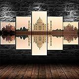 CHANGJIU-5 Teilig Leinwand Wanddeko- Taj Mahal Indien Tempelburg Poster -Leinwanddrucke 5 Stück Leinwand Bilder Gemälde Modern Wohnzimmer Wohnkultur Geschenk 150X80Cm Rahmen