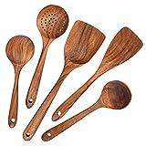 AOOSY Kochutensilien Holz,Küchenhelfer Set Holz,5 Stück Kochutensilien-Set aus Holz im japanischen Stil Kratzfeste Utensilien-Sets einschließlich Holzspatellöffel fü
