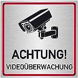 Schilderio Achtung Videoüberwachung Schild (20x20 cm Alu Verbund) videoüberwacht Warnschild Hinweisschild zur Kennzeichnung einer Kamera Überwachung, 3mm Alu inklusive Bohrlöcher und Montagekit