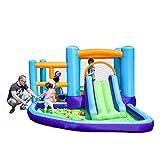 WAMY Kinder Spielplatz mit Rutsche, Schaukel | Indoor und Outdoor | Spielturm und Rutsche mit extra Breiten Stufen und Standbeinen, 400 * 315 * 185cm
