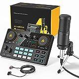 WQMA Professioneller Live-Sound-Mixer Dj-Controller 4-Kanal-Bluetooth-USB-Sound-Mixer Mit Mikrofon Und Stereo-Kopfhörer Kopfhöreranschluss Stereo 48V Phantomspeisung Für Karaoke-Anfänger