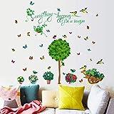 BLOUR Grüner Baum Blumentopf Schmetterling Wandaufkleber für Shop Home Baseboard Dekoration natürliche Landschaft Wandbild Kunst PVC-Abziehbilder