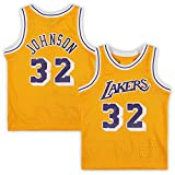 Gelb - Herren Erwachsene Basketball Home Jersey LosAngelesLakers Home Basketball Jersey #32 JohnsonMagic Jersey Sweatshirt Weste Gr. Medium, gelb