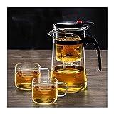 Teekanne aus Glas Teekanne zur Teezubereitung, Teetasse, Büro-Glas-Tee-Set, hochtemperaturbeständiger Teebereiter (Größe: 750 ml)