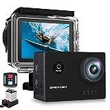 Apexcam X60Pro Action Cam 4K 60fps WiFi 20MP Unterwasserkamera 40M Wasserdicht 8xZoom EIS 170° Weitwinkel IPS-Panel(2.4G Fernbedienung,Externes Mikrofon,2x1350mAh Akkus und andere Zubehör)