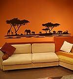 PrimeStick Premium Wandtattoo Wandaufkleber Afrika Elefanten Giraffen Nilpferde Maxi XXL 1,86m x 0,6 Motiv: #72 Dunkelbraun RAL 8017