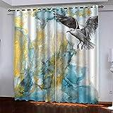 GDYRBY 3D Digitaldruck Kolibri Gold Textur Muster Vorhang, Verdunkelungsvorhang Ösenschal Wärmeisolierung Vorhänge Fensterdekoration Für Wohnzimmer Schlafzimmer Kinderzimmer 300X280cm(HxB)