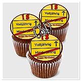 CSD Muffinaufleger 18.Geburtstag M2, Premium Esspapier Oblaten, Geburtstag